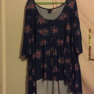 Blue top with pink flowers